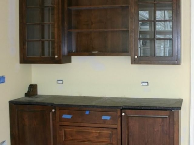 Dry bar cabinets made from alder wood