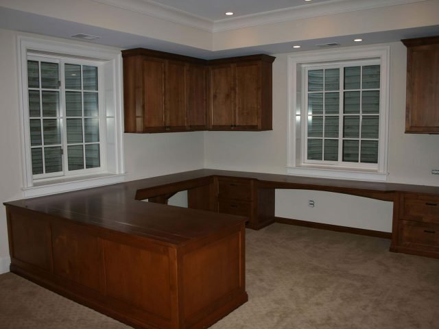 Custom alder desk and home office cabinets