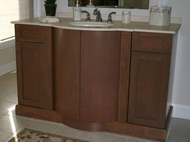 Alder wood vanity with radius front