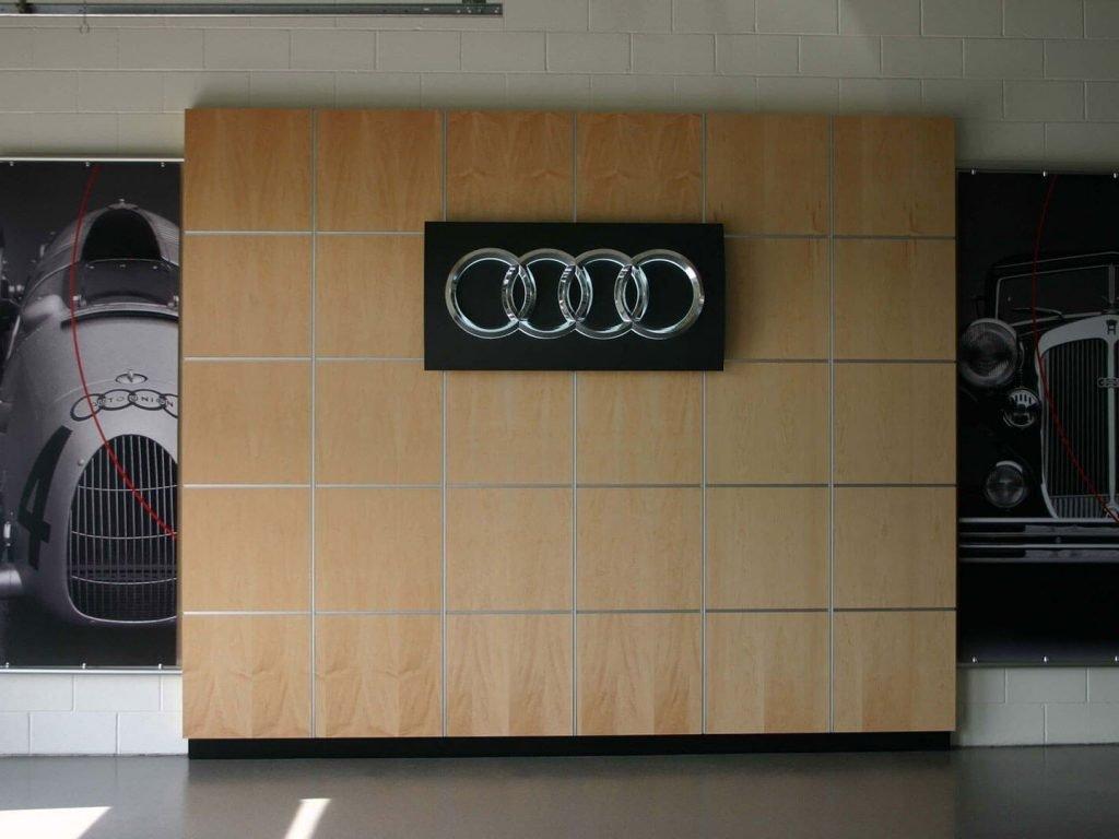 Audi maple wood wall display