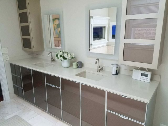 Back painted glass vanity
