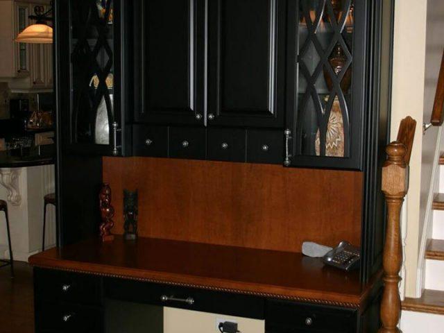 Black and cherry veneer desk