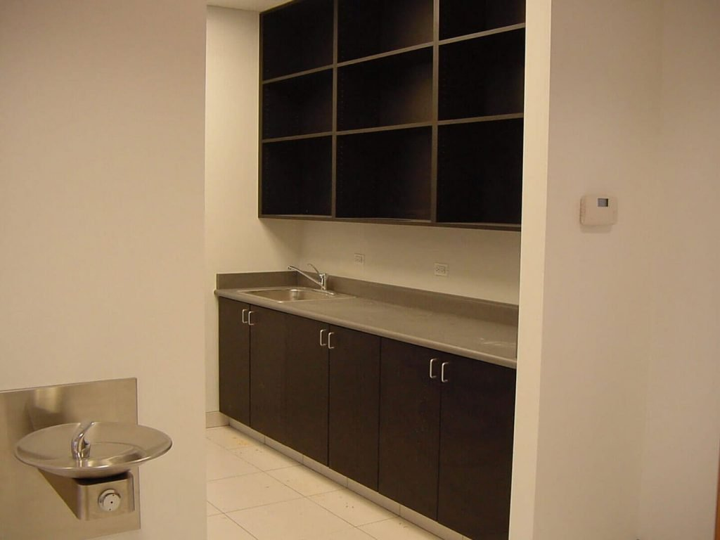 Black laminate cabinets for a commercial breakroom