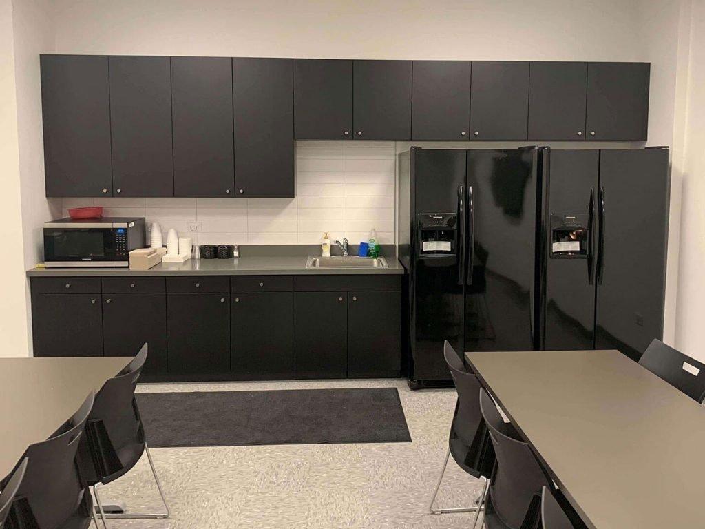 Black MDF breakroom cabinets