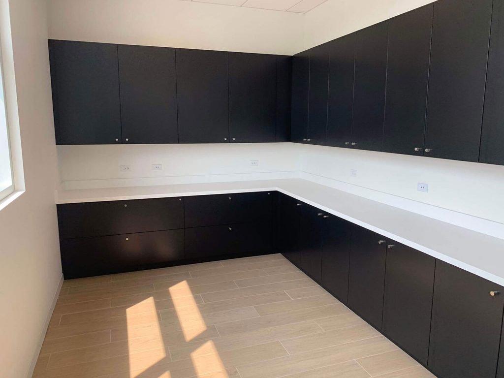 Black MDF storage cabinets