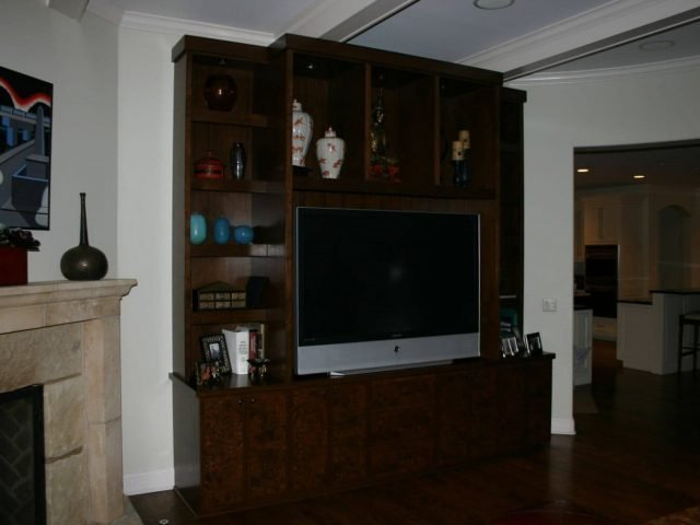 Burl walnut wood media center bookcases