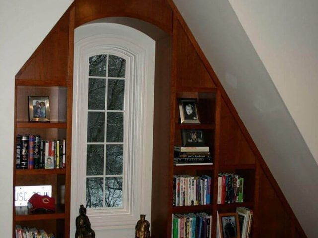Bedroom bookcases made from cherry wood