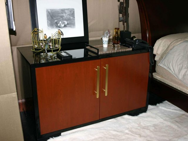 Cherry wood and black gloss bedroom nightstand