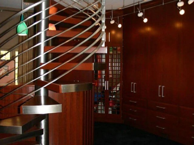 Custom cherry wood walk-in closet