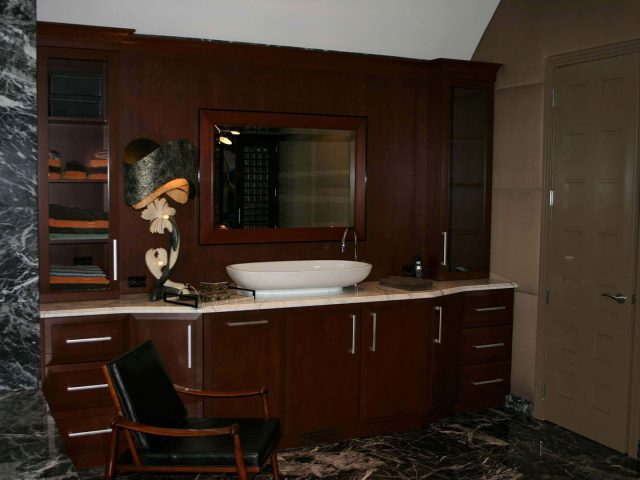Cherry wood master bath vanity