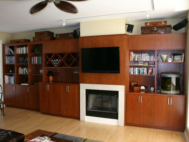 Media center with cherry cabinets