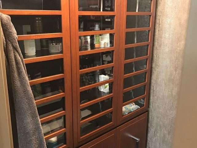 Cherry wood storage cabinets