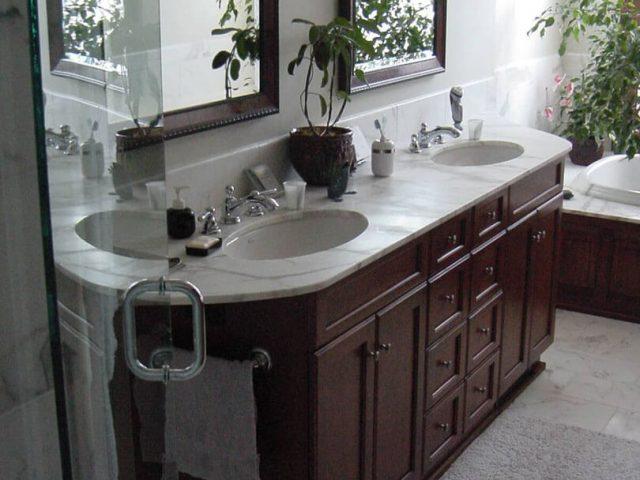Cherry wood double bowl bathroom vanity