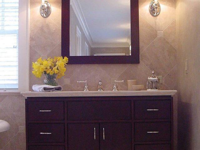 Cherry wood vanity and mirror frame