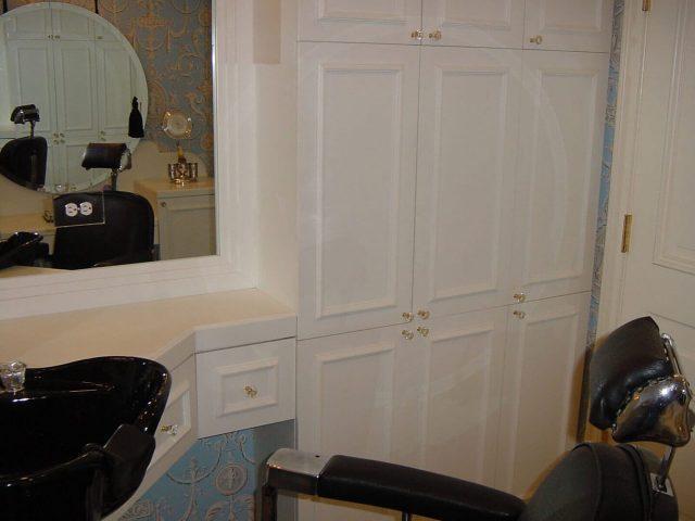 Home salon with custom Corian doors