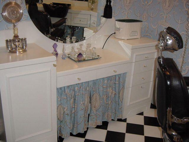 Custom Corian makeup area for home salon