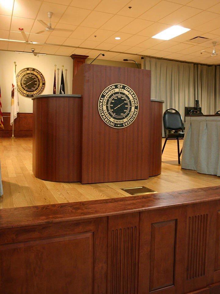 Custom Corian and laminate podium