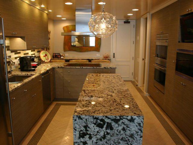 Custom kitchen with laminate cabinet doors