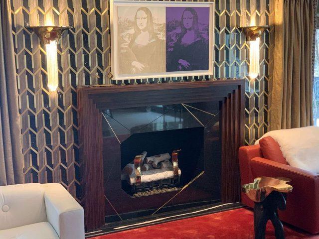 Ebony wood fireplace mantel