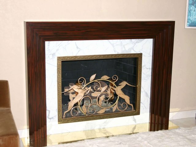 Ebony stepped fireplace mantel