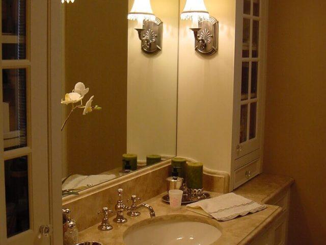 White inset face frame vanity