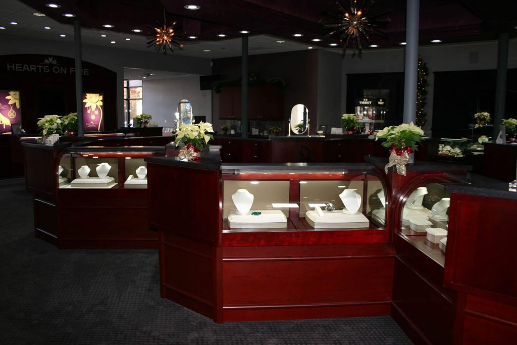 Cherry wood millwork for jewlery store displays