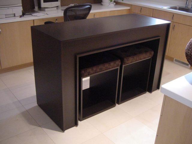 Kitchen island with custom wood furniture