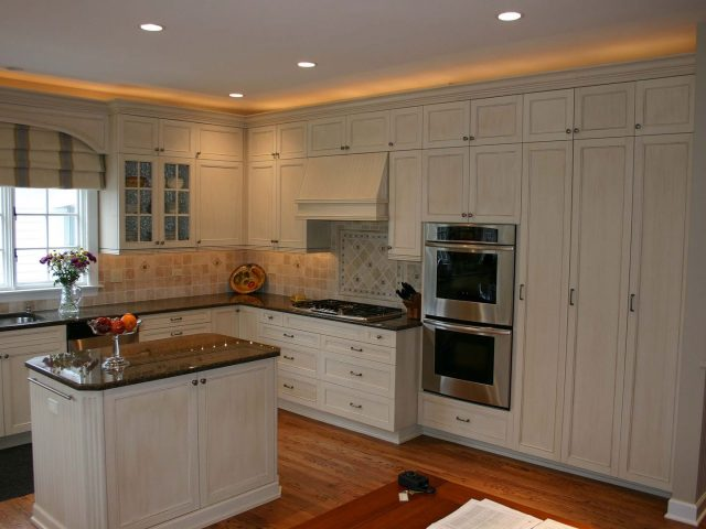Painted and glazed kitchen cabinets