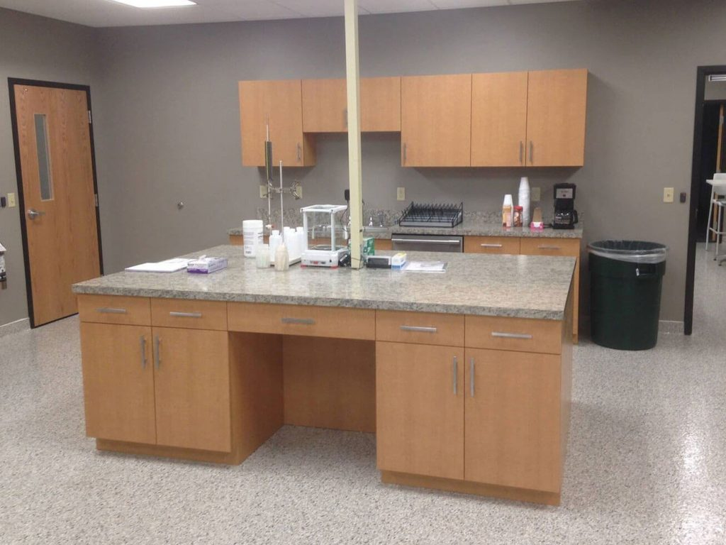 Commercial lab with laminate cabinets and countertops