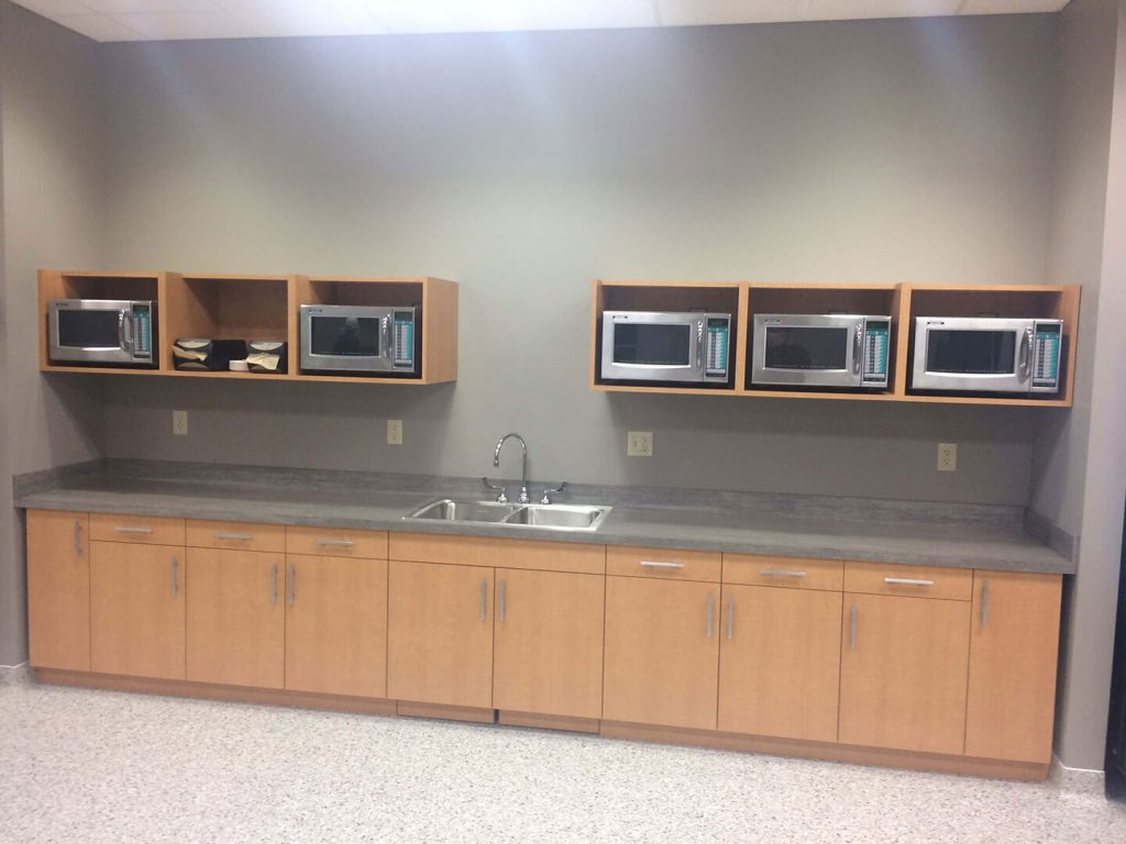 Commercial breakroom with laminate cabinet doors