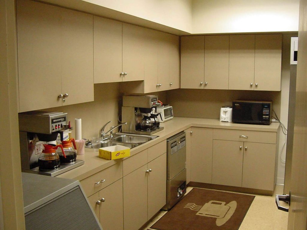 Breakroom area with laminate cabinets