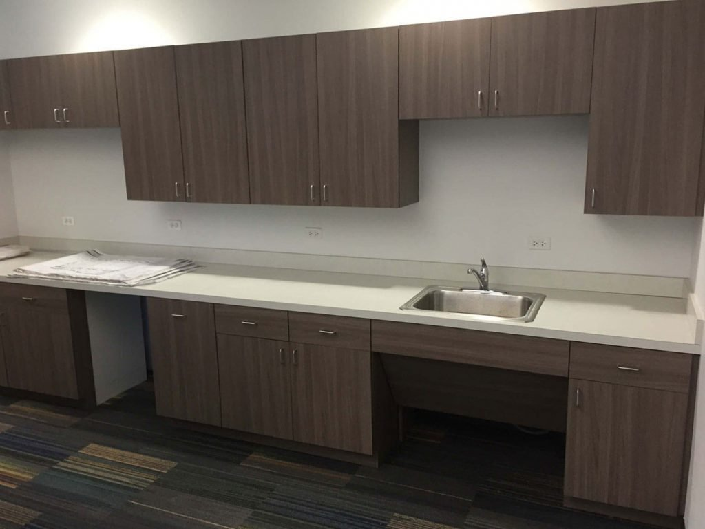 Commercial breakroom with laminate cabinets