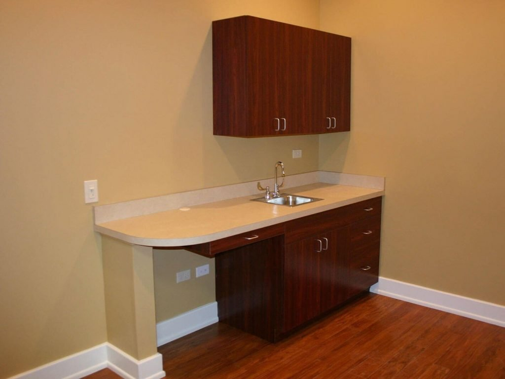 Exam room with custom laminate cabinetry