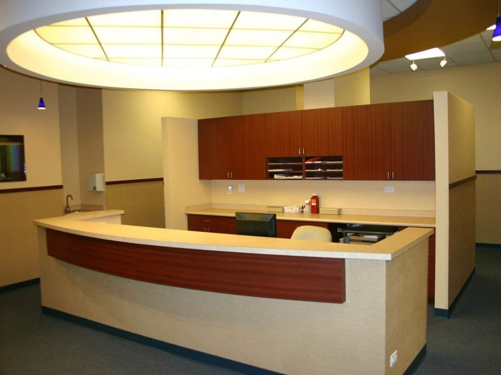 Nurses' station with laminate cabinetry