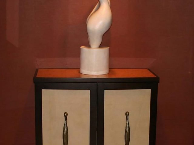 Mahogany wood and leather cabinet