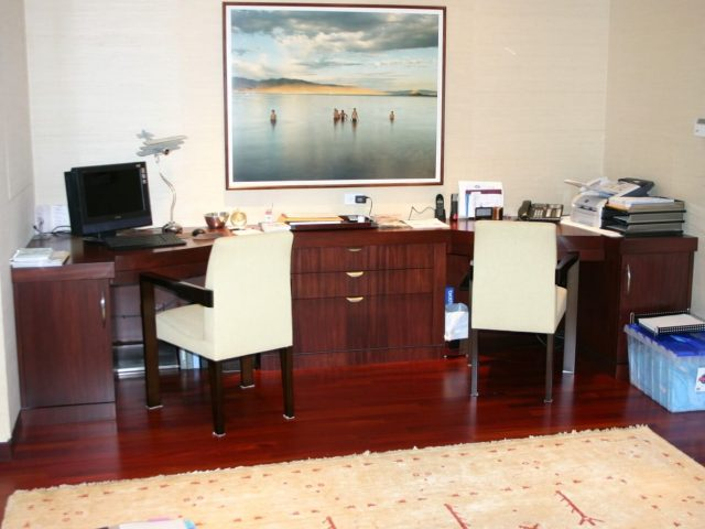 Custom mahogany wood office desk