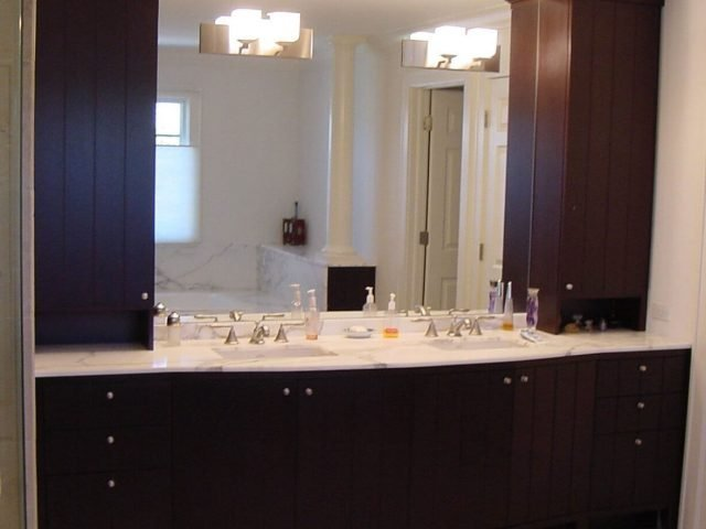 Custom mahogany wood vanity