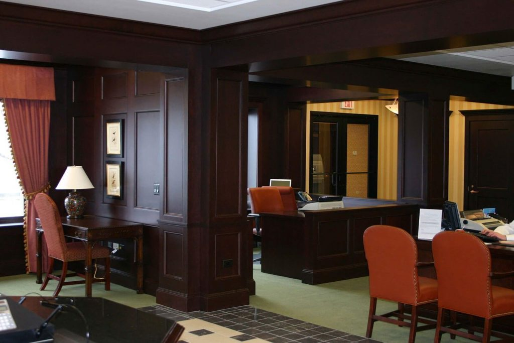 Maple millwork for bank interior