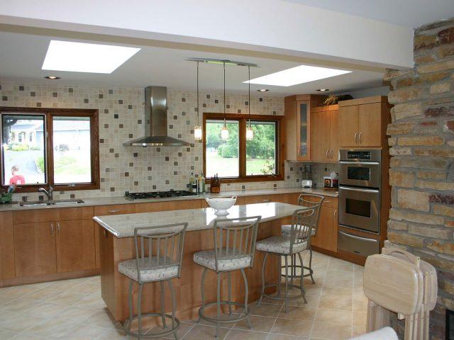 Maple slab kitchen cabinetry
