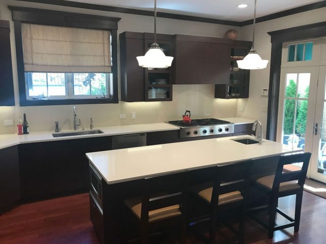 Maple stained kitchen cabinets