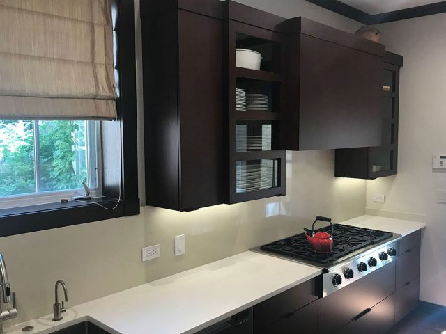 Kitchen cabinets with maple stain