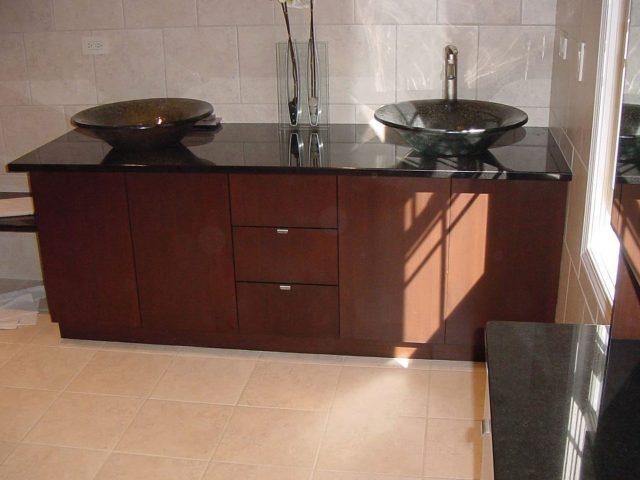 Maple stained bathroom vanity