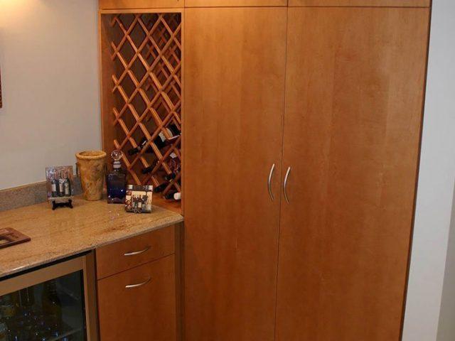 Maple wine room cabinets