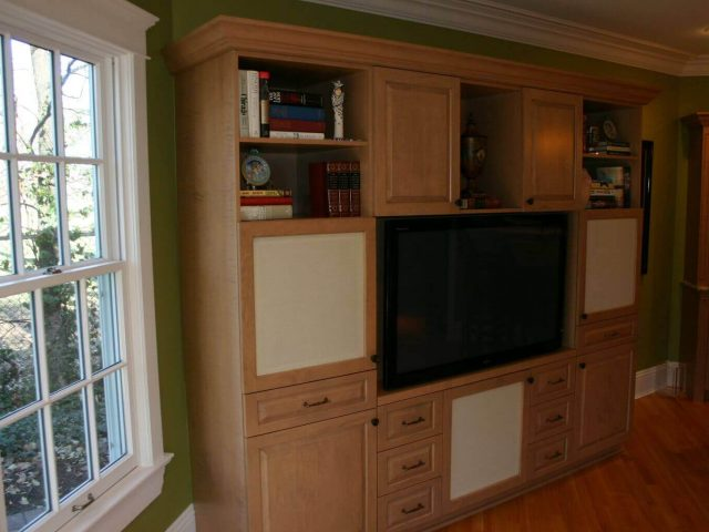 Media center cabinets with wet bar