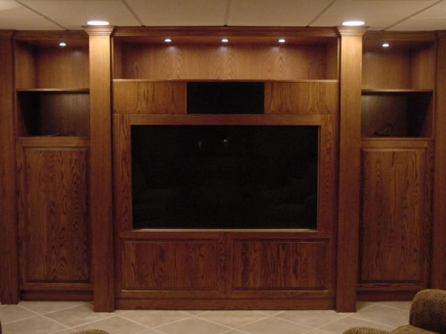 Oak wood entertainment center cabinets