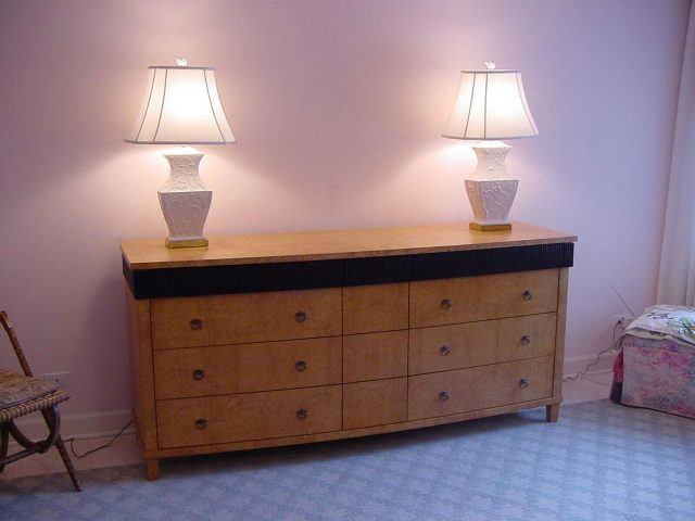 Bedroom dresser made from olive ash burl wood