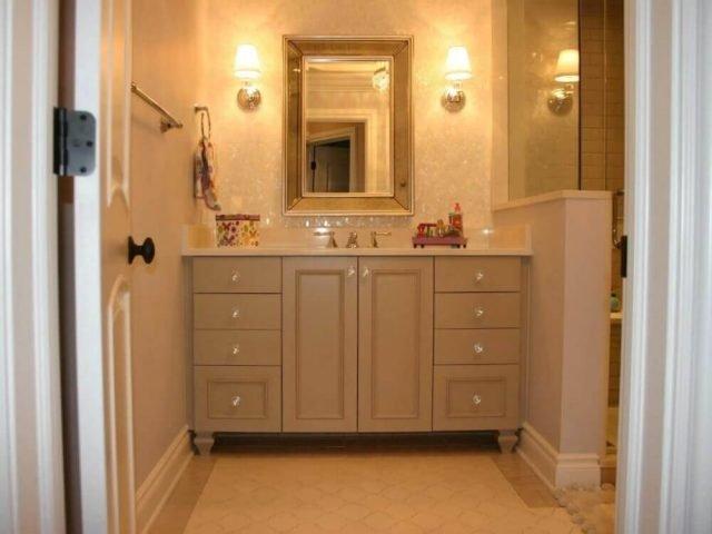 Painted wood bathroom vanity