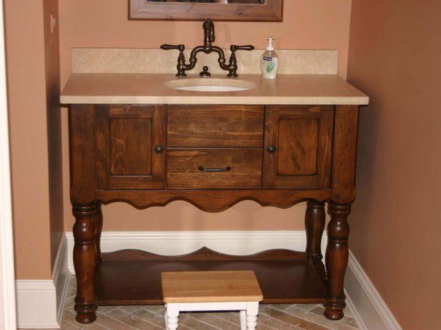 Pine wood bathroom vanity