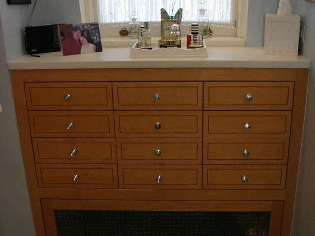 Custom drawer unit and radiator cover