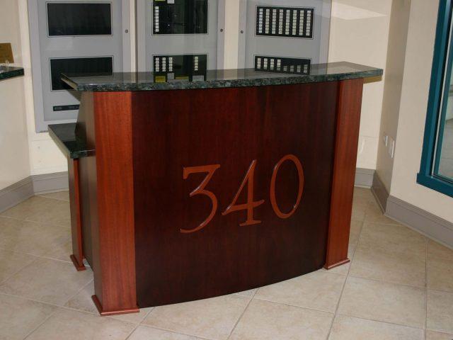 Mahogany desk with radius front